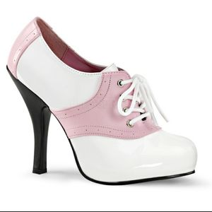 Shoes - Lace Up Saddle 50s Pin Up High Heels Shoes